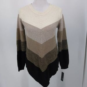 New AGB Medium Sweater Brown Ivory Crew Neck Long